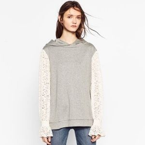 Zara Trafaluc Hoodie with Lace Sleeves Small